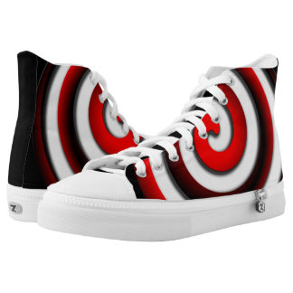 Red Hypnotic Spiral High Tops