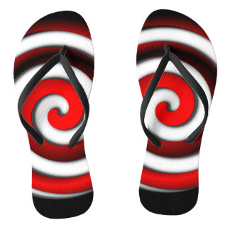 Red Hypnotic Spiral Thongs