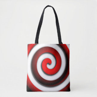Red Hypnotic Spiral Tote Bag