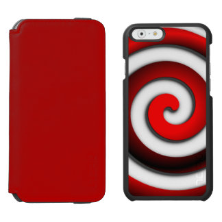 Red Hypnotic Spiral with Solid Red Wallet Incipio Watson™ iPhone 6 Wallet Case