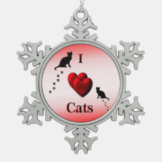 Red I Heart Cats Pewter Snowflake Ornament