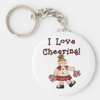 Red I Love Cheering Basic Round Button Key Ring