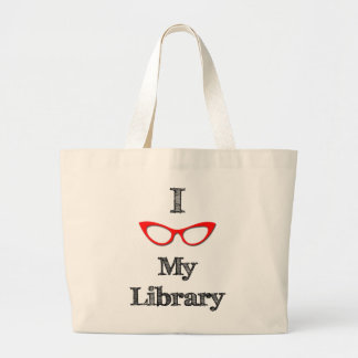 Red - I love my library Jumbo Tote Bag
