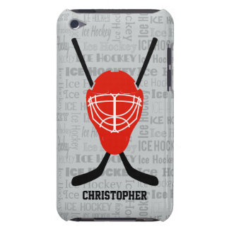 Red Ice Hockey Helmet and Sticks Typography iPod Touch Case