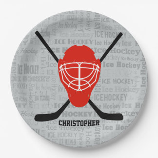 Red Ice Hockey Helmet and Sticks Typography Paper Plate