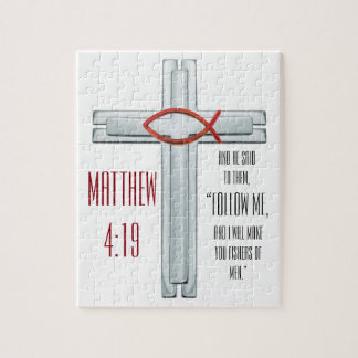 Red Ichthus Cross Jigsaw Puzzle
