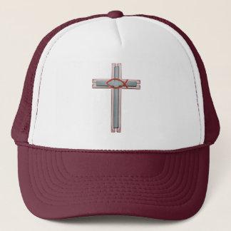 Red Ichthus Cross Trucker Hat