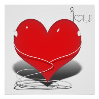 Red iHeart w text i ♥ you Poster
