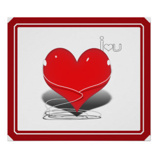 Red iHeart w text i ♥ you Print