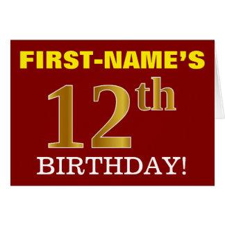 "Red, Imitation Gold ""12th BIRTHDAY"" Birthday Card"