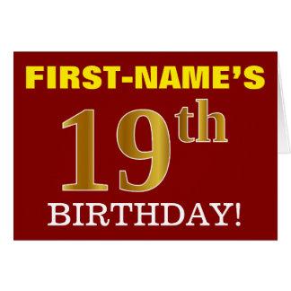 "Red, Imitation Gold ""19th BIRTHDAY"" Birthday Card"
