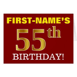 "Red, Imitation Gold ""55th BIRTHDAY"" Birthday Card"