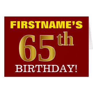 "Red, Imitation Gold ""65th BIRTHDAY"" Birthday Card"
