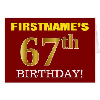 "Red, Imitation Gold ""67th BIRTHDAY"" Birthday Card"
