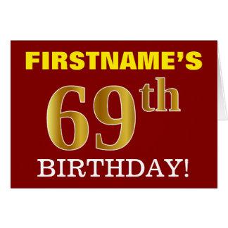 "Red, Imitation Gold ""69th BIRTHDAY"" Birthday Card"