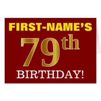 "Red, Imitation Gold ""79th BIRTHDAY"" Birthday Card"