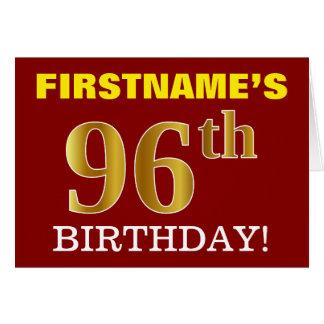 "Red, Imitation Gold ""96th BIRTHDAY"" Birthday Card"