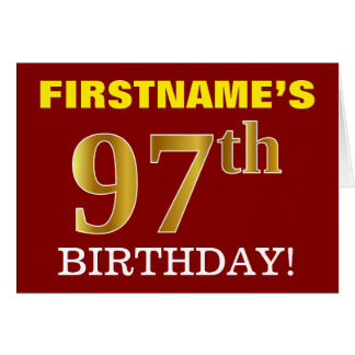 "Red, Imitation Gold ""97th BIRTHDAY"" Birthday Card"