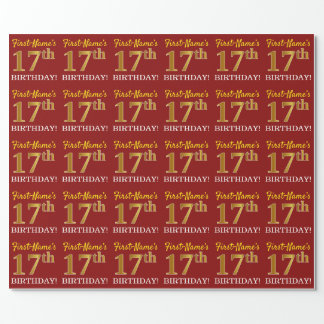 """Red, Imitation Gold Look """"17th BIRTHDAY"""" Wrapping Paper"""