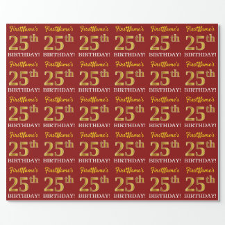 """Red, Imitation Gold Look """"25th BIRTHDAY"""" Wrapping Paper"""