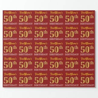 """Red, Imitation Gold Look """"50th BIRTHDAY"""" Wrapping Paper"""