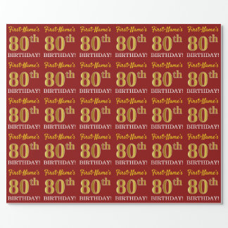 "Red, Imitation Gold Look ""80th BIRTHDAY"" Wrapping Paper"