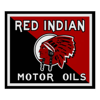 Red Indian Motor Oil vintage sign flat vers. Poster