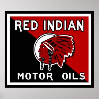 Red Indian Motor Oil vintage sign flat vers. Poster