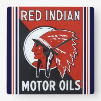 Red Indian Motor Oils Clock
