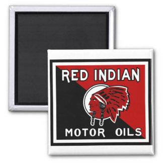 Red Indian Motor Oils vintage sign Square Magnet