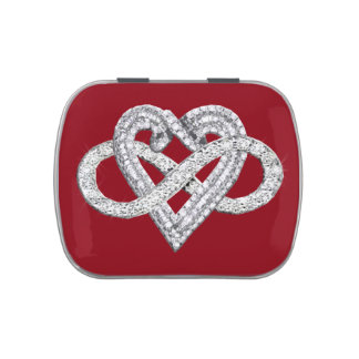 Red Infinity Heart Candy Tin
