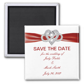 Red Infinity Heart Save The Date Magnet