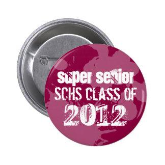Red ink splatter school senior class of grunge 6 cm round badge