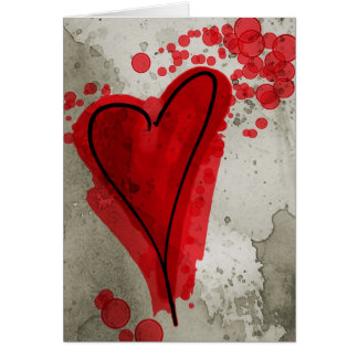 Red Inky Heart Card