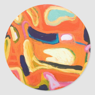 Red Interior ( abstract expressionism ) Round Sticker