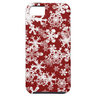 Red iPhone 5 Case with Snowflakes