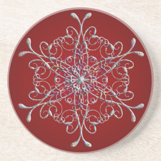 Red Iridescent Snowflake Coasters