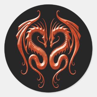 Red Iron Dragons Round Sticker