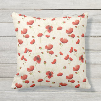 Red Ivory Poppy Throw Pillow