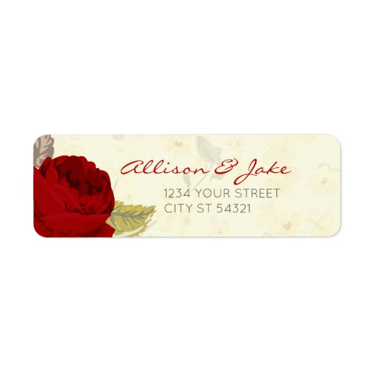 Red & Ivory Roses Wedding Address Labels