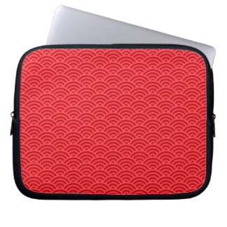 Red Japaneese abstract wave pattern case Laptop Computer Sleeve