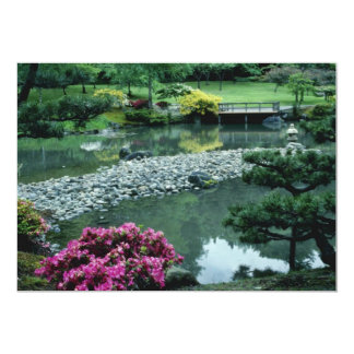 Red Japanese garden scene flowers Card