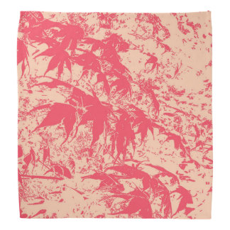 Red Japanese Maple Leaf Print on Peach Bandana