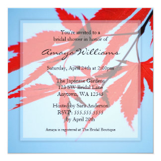 "Red Japanese Maple Leaves Bridal Shower 5.25"" Square Invitation Card"