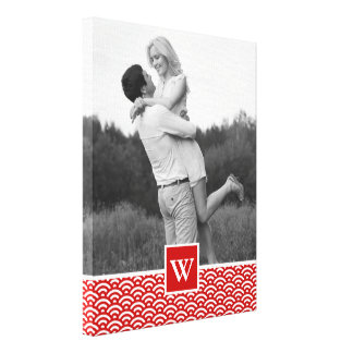 Red Japanese Pattern   Photo with Monogram Canvas Print