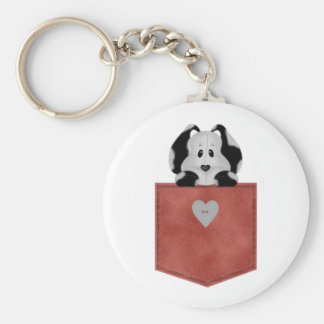Red Jean Pocket Puppy Dog Basic Round Button Key Ring