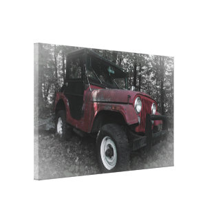 Red Jeep with Black and White Background Canvas Print