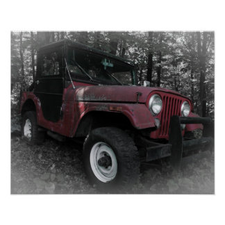 Red Jeep with Black and White Background Poster