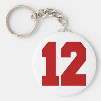 Red Jersey Number 12 Key Ring