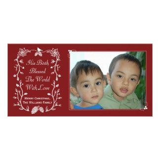 Red Jesus' Birth Christian Christmas Photo Card